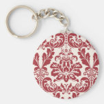 keychain...red and white damask