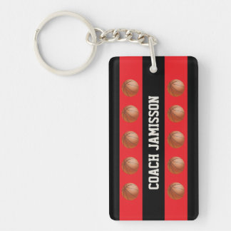 Keychain, Red/Black for Basketball Coach, Player Keychain