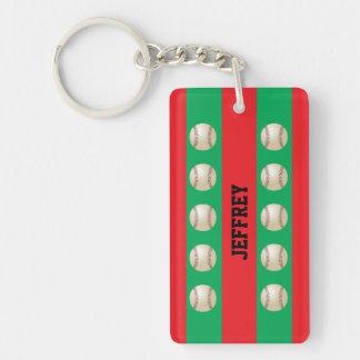 Keychain, Red & Green, Baseball Christmas, Xmas Rectangular Acrylic Key Chain