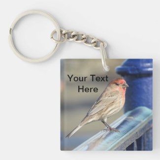 Keychain - Red headed sparrow on fence