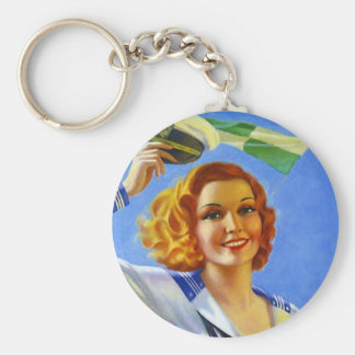 KEYCHAIN Retro Sailor Gal Setting Sail Pin-up
