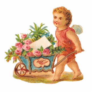 KEYCHAIN  - ROMANTIC  CUPID & ROSE CART - GIFTS