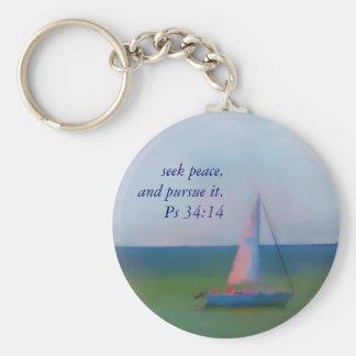 Keychain, Sailing Boat Bible Scripture, Seek Peace Basic Round Button Keychain