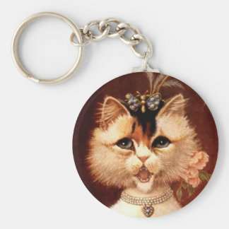KEYCHAIN Singing Victorian Parlor Cat Kitten Jewel