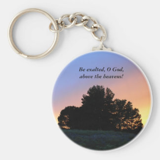 Keychain: Sunset over tree silhouette