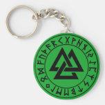 keychain Tri-Triangle Rune Shield on Grn