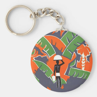 KEYCHAIN VINTAGE ABSTRACT TRAVEL RAINFOREST TROPIC