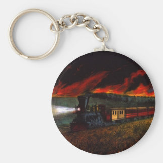KEYCHAIN Vintage Night Train Engine Railroad Cars