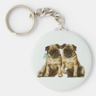 Keychain Vintage Two Pug Dogs