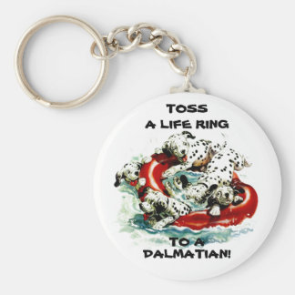 KEYCHAIN w/ DALMATIANS IN LIFE RING ~ PET RESCUE