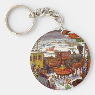 KEYCHAIN Winter Holiday Train Travel Open Sleigh