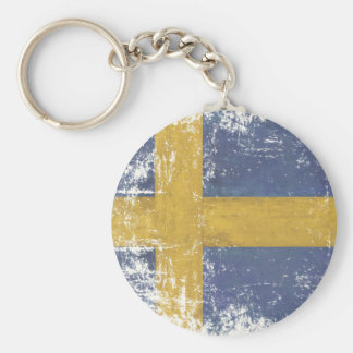Keychain with Dirty Vintage Flag from Sweden