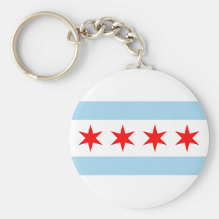 Keychain with Flag of Chicago, Illinois State