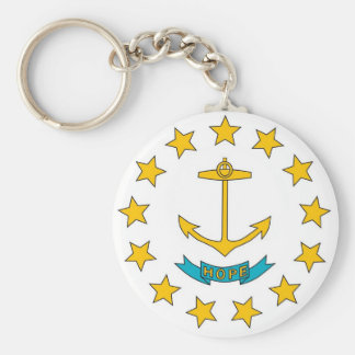 Keychain with Flag of Rhode Island State