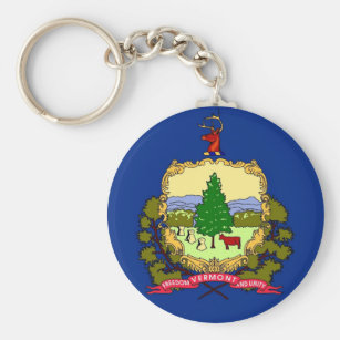 Keychain with Flag of Vermont State
