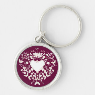 Keychain  with floral  white heart