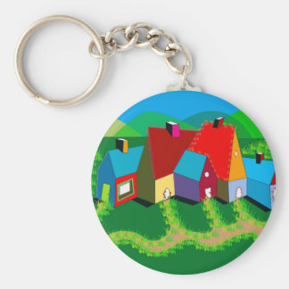 Keychain with Folk Art