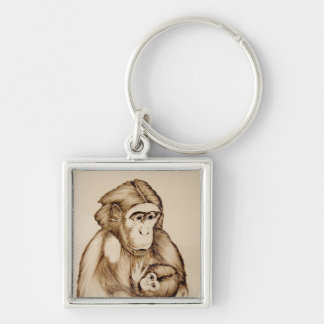 Keychain with monkey and baby. Black pen.