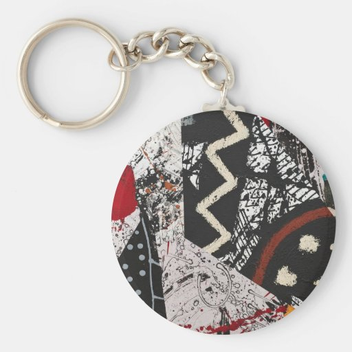 Keychain with Painted Collage Design
