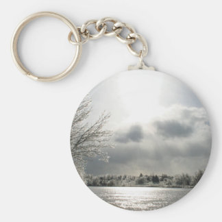 keychain with photo of icy winter landscape
