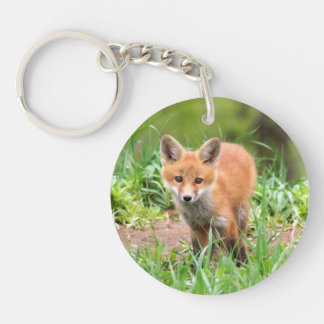 keychain with photo of red fox kit