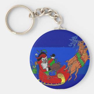 Keychain with Santa on a Sleigh Ride