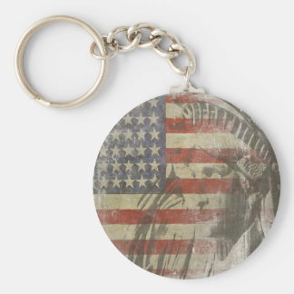 Keychain with Statue of Liberty on American Flag