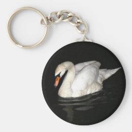 Keychain with white swan.
