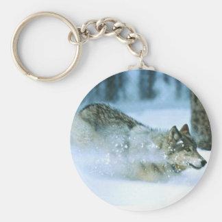 Keychain -Wolf Running in Snow