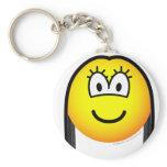 Black haired emoticon   keychains