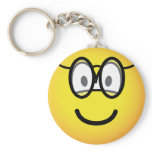 Emoticon with glasses   keychains