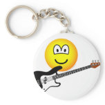 Bass playing emoticon   keychains