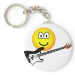Bass playing emoticon   keychains