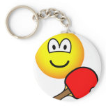 Table tennis playing emoticon ping pong  keychains