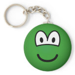 Colored emoticon green  keychains
