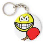 Table tennis playing smile ping pong  keychains