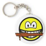 Fetching stick smile Dog  keychains