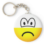 Half empty emoticon Pessimist  keychains