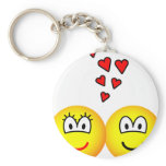 Two Emoticons in love   keychains