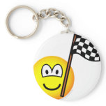 Checkered flag emoticon   keychains