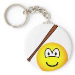 Baseballing emoticon baseball bat  keychains