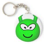 Green alien emoticon   keychains