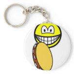 Tambourine playing smile   keychains
