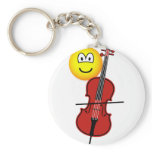 Cello playing emoticon   keychains