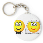 Married emoticon bride and groom  keychains