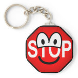 Stop sign emoticon   keychains