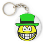 Green hat smile Six Thinking Hats - Creative Lateral Thinking  keychains