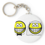 Married smile bride and groom  keychains