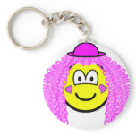 Curly pink hair clown buddy icon   keychains