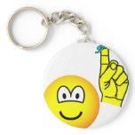 Reminder emoticon string around finger  keychains